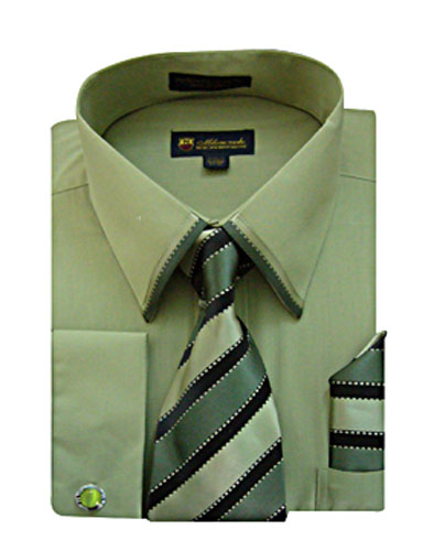 SG23Olive-H ( Matching Tie, Cuff Link And Hanky Included )
