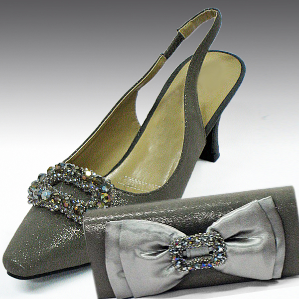 H82-Stone Shoe With Matching Hand Bag