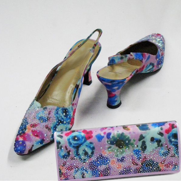H93-Lilac With Multi Shoe With Matching Hand Bag