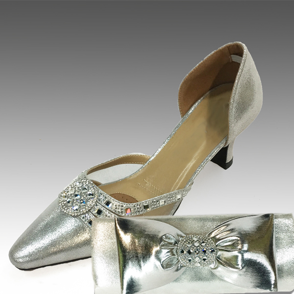 H95-Silver Shoe With Matching Hand Bag