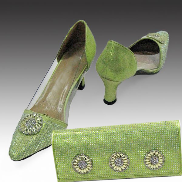 H96-Lime Shoe With Matching Hand Bag