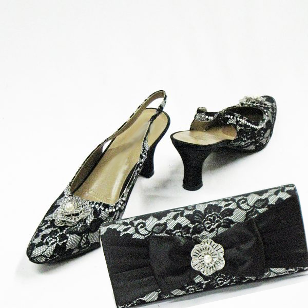 H97-Black With White Shoe With Matching Hand Bag