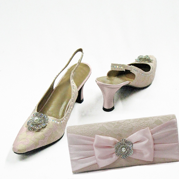 H97-Pink With Nude Shoe With Matching Hand Bag