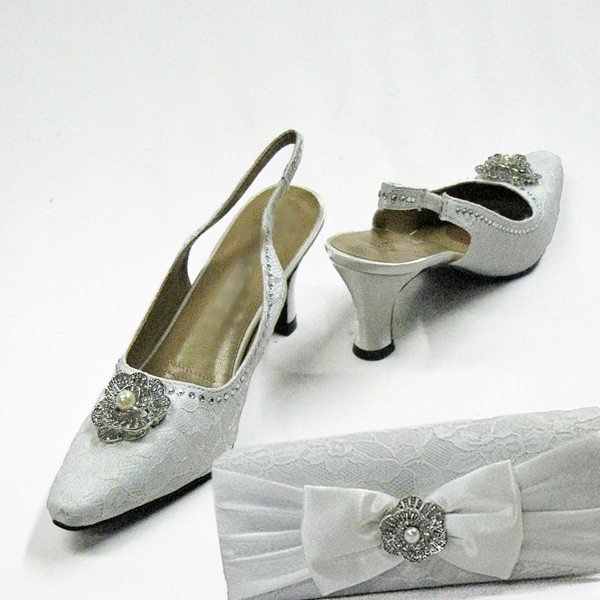 H97-White Shoe With Matching Hand Bag