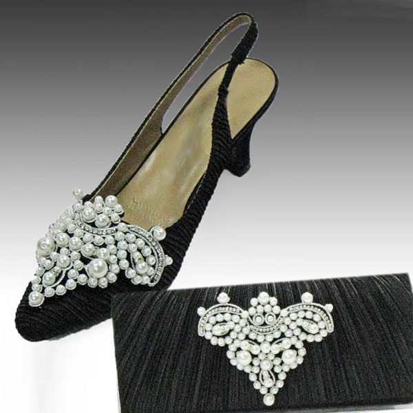 H100-Black Shoe With Matching Hand Bag