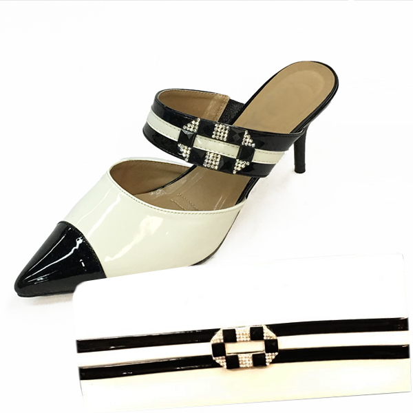 H121-Black With White Shoe With Matching Hand Bag