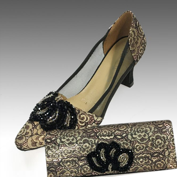 H104-Champagne With Gold Shoe With Matching Hand Bag