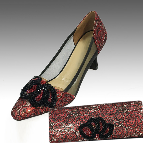 H104-Red With Gold Shoe With Matching Hand Bag