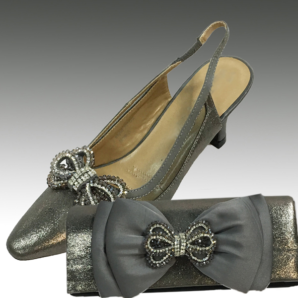 H103-Gun Metal Shoe With Matching Hand Bag
