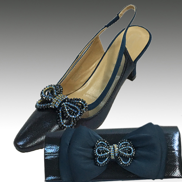 H103-Navy Shoe With Matching Hand Bag