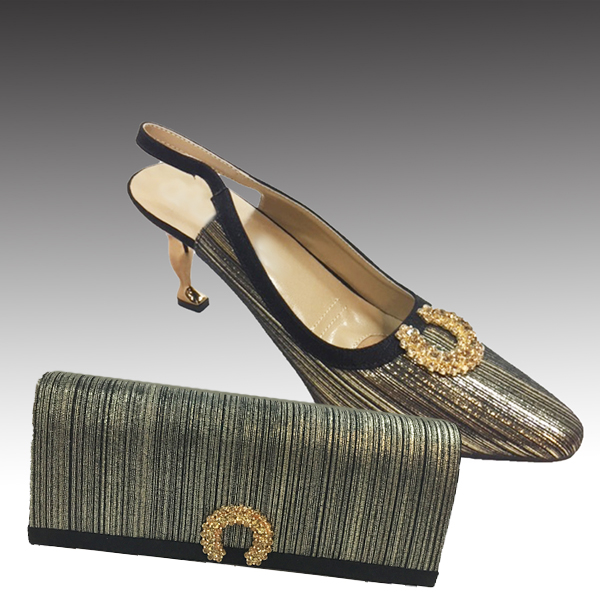 H124M-Gold Shoe With Matching Hand Bag