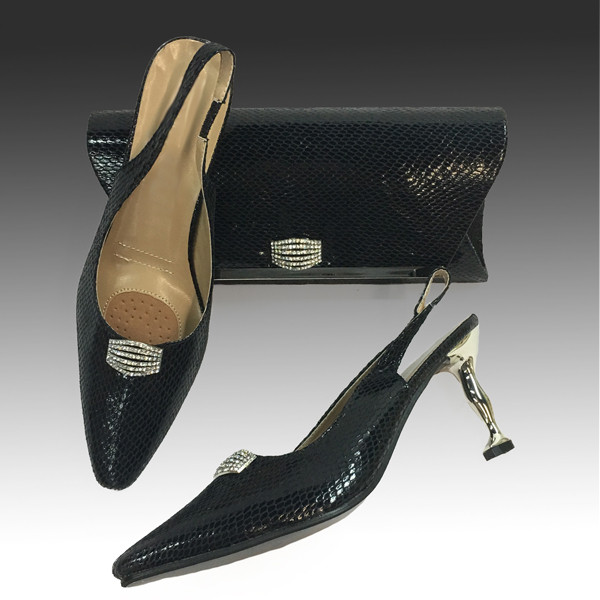 H124S-Black Shoe With Matching Hand Bag