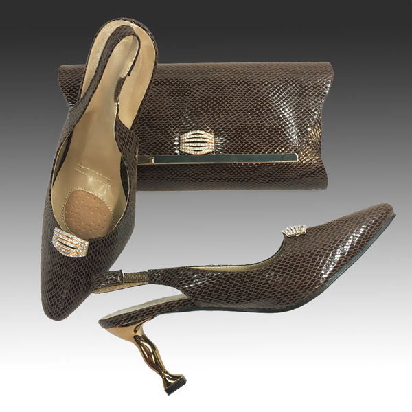H124S-Brown Shoe With Matching Hand Bag