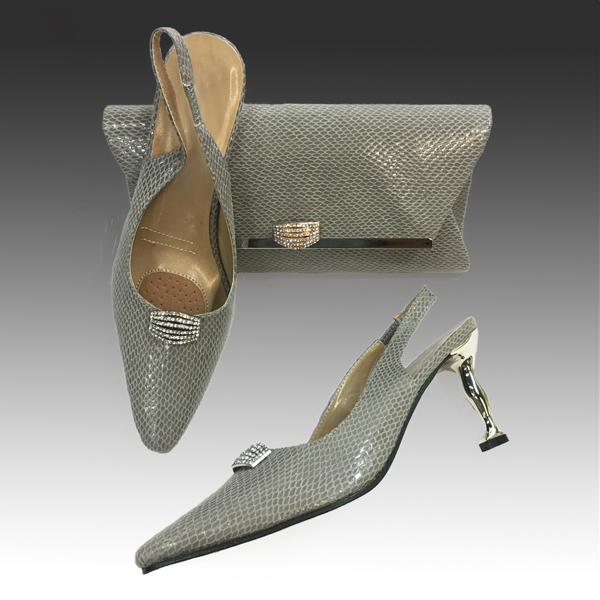 H124S-Grey Shoe With Matching Hand Bag