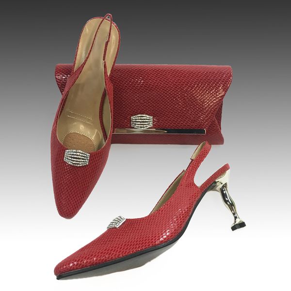 H124S-Red Shoe With Matching Hand Bag