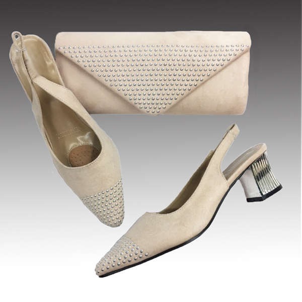 H126-Champagne Shoe With Matching Hand Bag