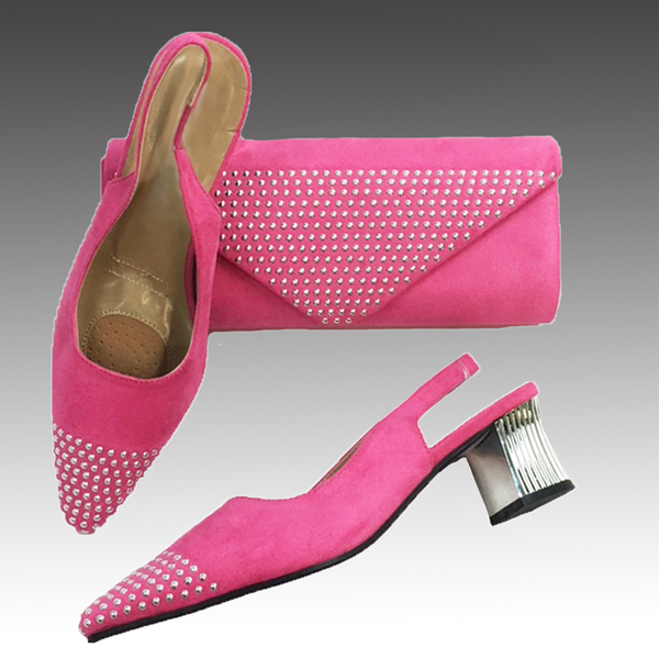 H126-Fuchsia Shoe With Matching Hand Bag
