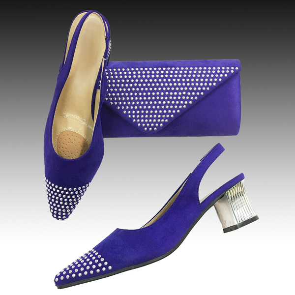 H126-Purple Shoe With Matching Hand Bag