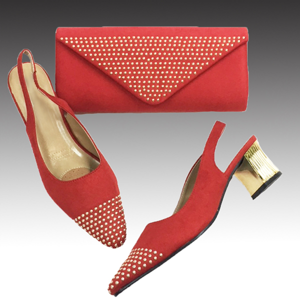 H126-Red Shoe With Matching Hand Bag