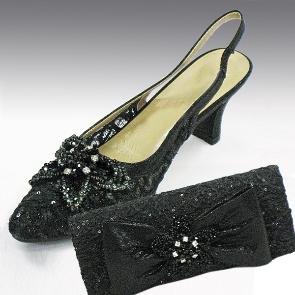 H73-Black Shoe With Matching Hand Bag