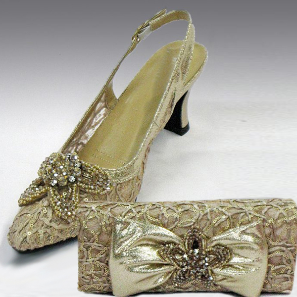 H73-Taupe Shoe With Matching Hand Bag