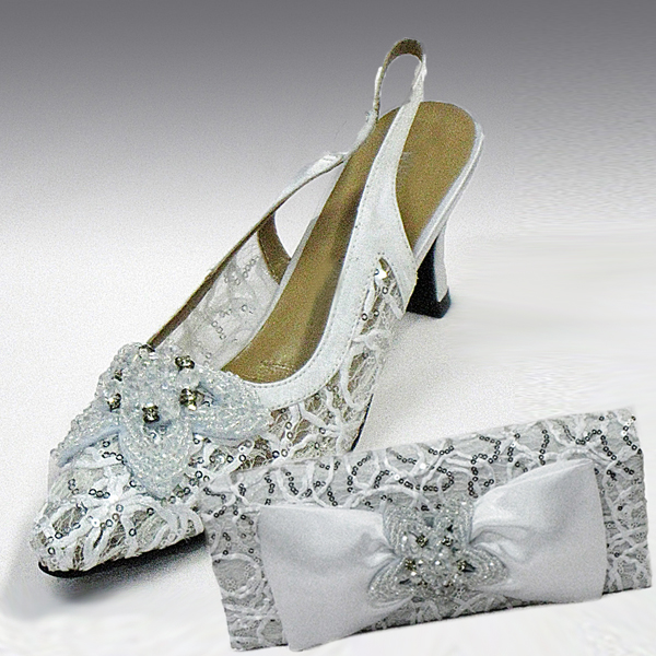 H73-White Shoe With Matching Hand Bag