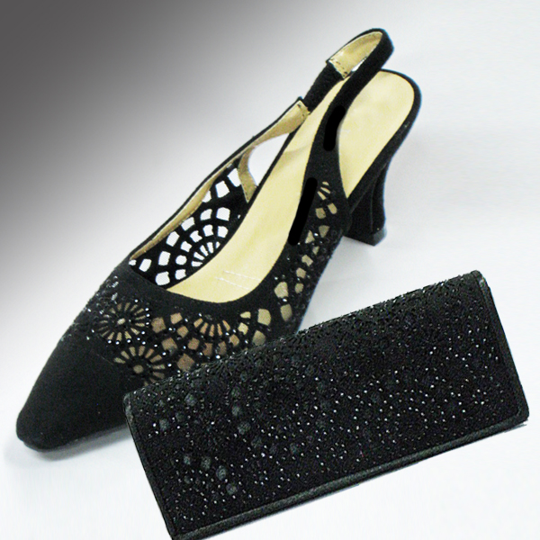 H78-Black Shoe With Matching Hand Bag