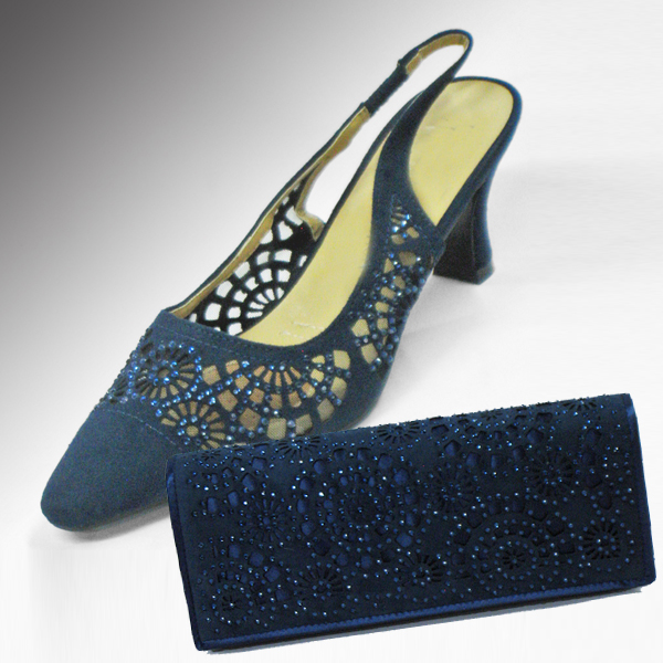 H78-Navy Shoe With Matching Handbag