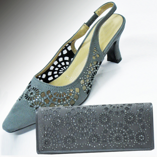 H78-Gun Metal Shoe With Matching Hand Bag