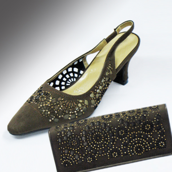 H78-Mocha Shoe With Matching Handbag