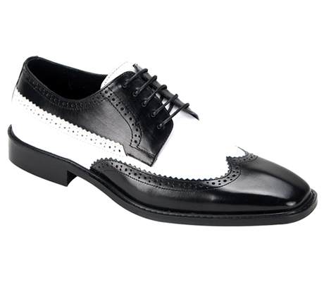 Mens Shoes By Steven Land SL0007-BW ( Genuine Leather, Two-Tone, Lace Up, Wing Tip Oxford, Made By Hand )