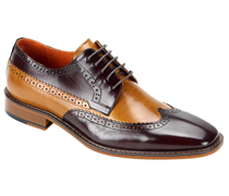 Mens Shoes By Steven Land SL0007-BURG ( Genuine Leather, Two-Tone, Lace Up, Wing Tip Oxford, Made By Hand )