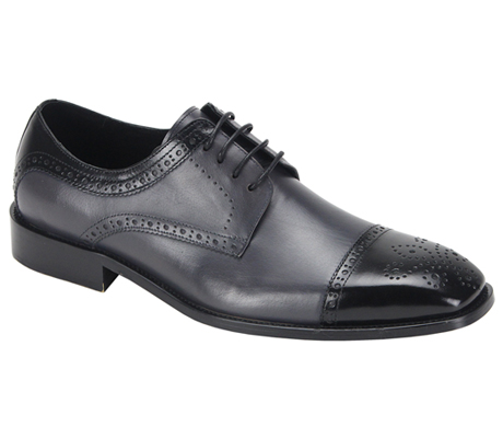 Mens Shoes By Steven Land SL0008-BLK ( Genuine Leather, Two-Tone, Lace Up, Cap Toe Oxford, Made By Hand )