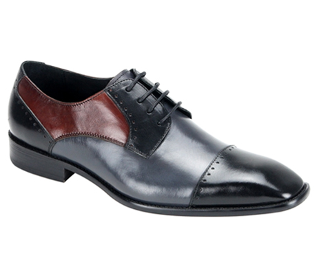 Mens Shoes By Steven Land SL0009-BLK ( Genuine Leather, Tri-Color, Lace Up, Cap Toe Oxford, Made By Hand )