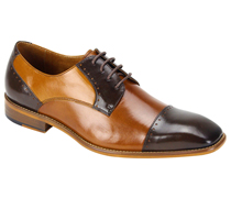 Mens Shoes By Steven Land SL0009-BRN (  Genuine Leather, Tri-Color, Lace Up, Cap Toe Oxford, Made By Hand )