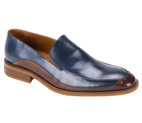 Mens Shoes By Steven Land SL0010-NA ( Genuine Leather, Two-Tone, Slip On Loafers, Made By Hand )