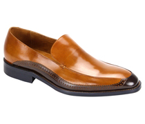 Mens Shoes By Steven Land SL0010-TA ( Genuine Leather, Two-Tone, Slip On Loafers, Made By Hand )