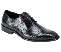 Mens Shoes By Steven Land SL0013-BLK ( Genuine Leather, Lace Up Oxford, Diamond Pattern With Woven Detail, Made By Hand )