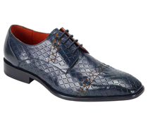 Mens Shoes By Steven Land SL0013-BLU ( Genuine Leather, Lace Up Oxford, Diamond Pattern With Woven Detail, Made By Hand )