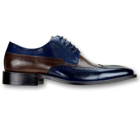 Mens Shoes By Steven Land SL0007-NA ( Genuine Leather, Two-Tone, Lace Up, Wing Tip Oxford, Made By Hand )