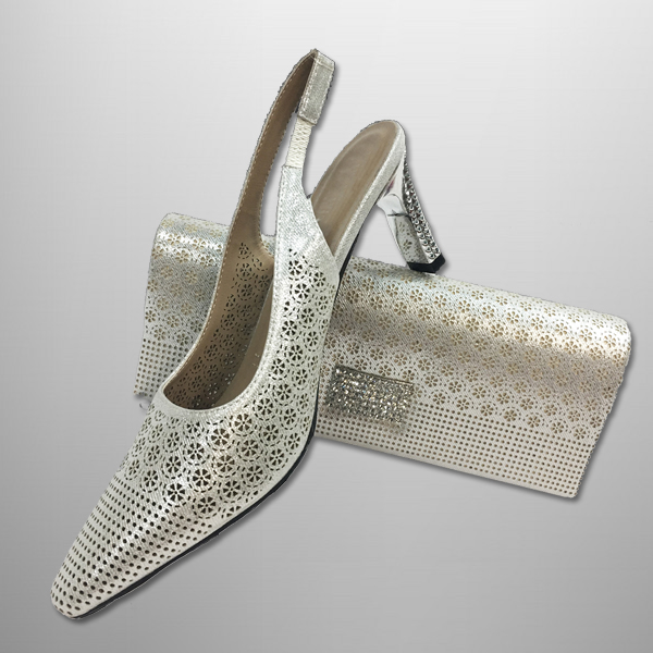 "P134 LATTICE-S-COMBO ( Lattice Pattern Vanity Clutch, With Laser Cut Lattice Slingbacks With A Comfort Cushion And 2.75"" Heel )"