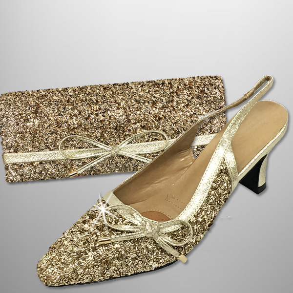 "P136 BUGLE-G-COMBO ( Faux Bugle Beaded Clutch, With Faux Bugle Beaded Slingbacks With A Comfort Cushion And 2.75"" Heel )"