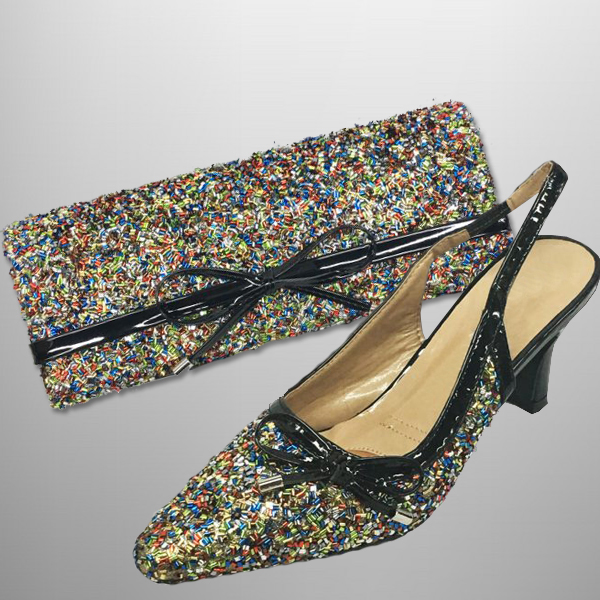 "P136 BUGLE-BM-COMBO ( Faux Bugle Beaded Clutch, With Faux Bugle Beaded Slingbacks With A Comfort Cushion And 2.75"" Heel )"