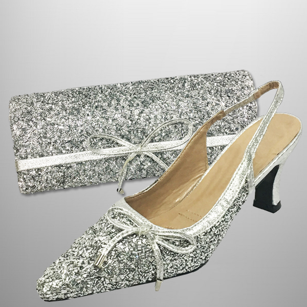 "P136 BUGLE-S-COMBO ( Faux Bugle Beaded Clutch, With Faux Bugle Beaded Slingbacks With A Comfort Cushion And 2.75"" Heel )"