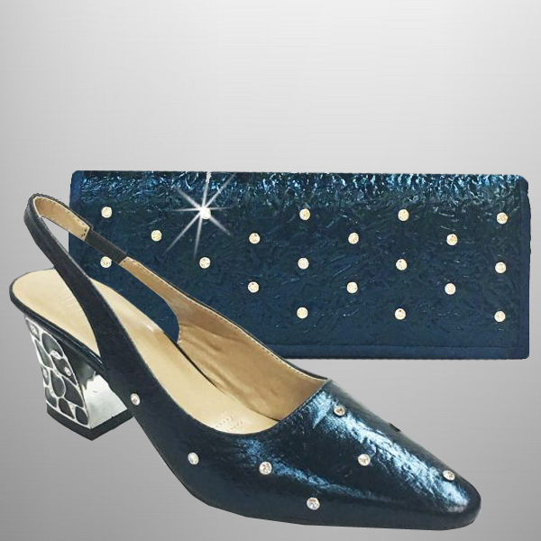 "P125 CLOISONNE-N-COMBO ( Vegan Leather Crystal Sprinkled Clutch, With Novelty Enamel Heel Slingback With A Comfort Cushion And 2.75"" Heel )"