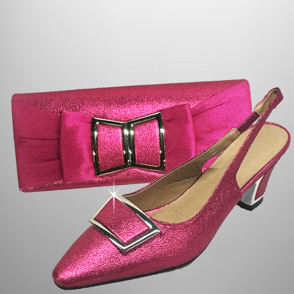 "P138 TWIGGY-F-COMBO ( Mod 60's Style Clutch With, Mod Style Slingbacks With A Comfort Cushion And 2.75"" Heel )"