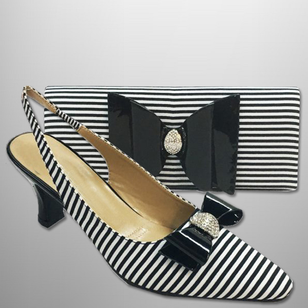 "P130-COMBO ( Classic Striped Handbag With Matching Slingbacks With A Comfort Cushion And 2.75"" Heel )"