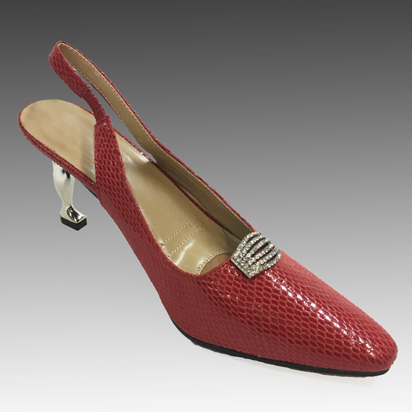 "H124S-RE-CO ( Faux Lizard Slingback With Comfort Cushion And Sculptured 2.75"" Heel )"