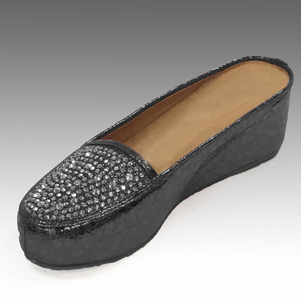 "H107-BK-CO ( Rhinestone Embellished Moc Croc Slides With Comfort Cushion And 2.75"" Heel )"