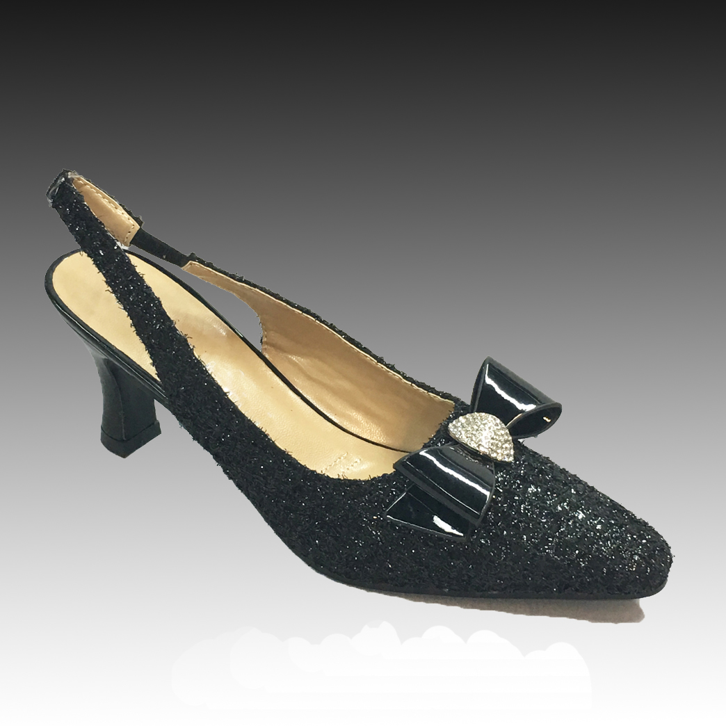 "H135 ASTRA-B ( Shimmer Tweed Slingbacks w Patent Trim With Comfort Cushion And 2.75"" Heel )"